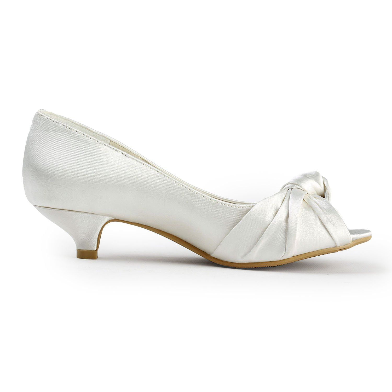 Elegantpark Ep2045 Women S P Toe Low Heel Knot Bridal Wedding Shoes