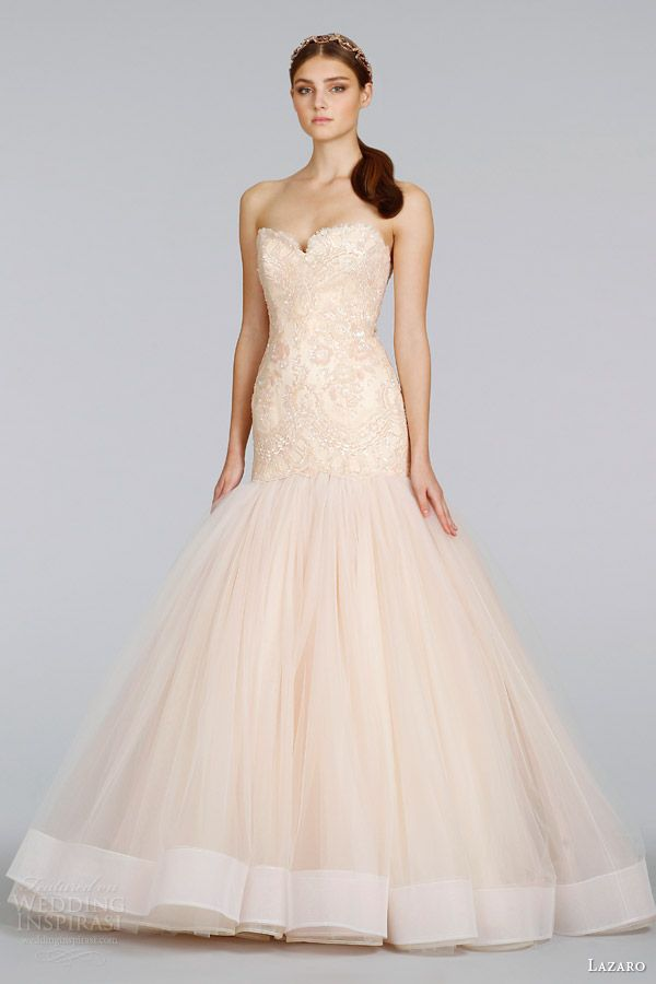 Lazaro Bridal Spring 2017 Blush Wedding Dress Style 3402