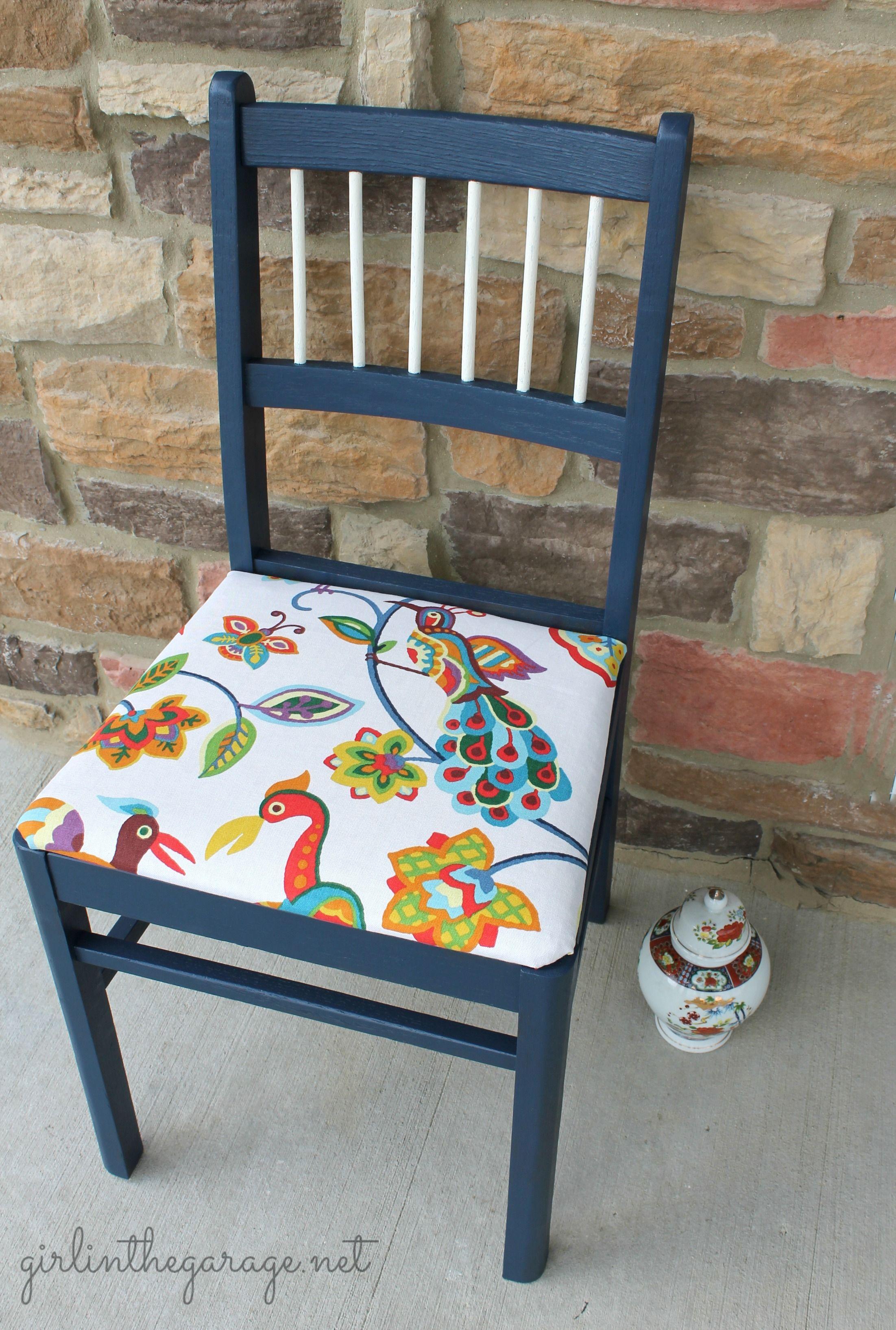 Blue Bird Chair Makeover
