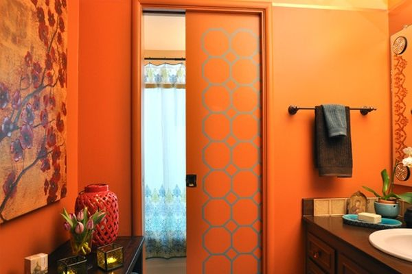 Orange Bathroom Idea Love The Patterned Door