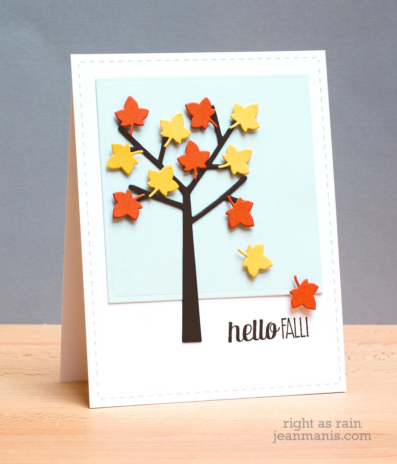Card Tree Leaf Leaves Fall Autumn Hello Fall TCEC13 JM
