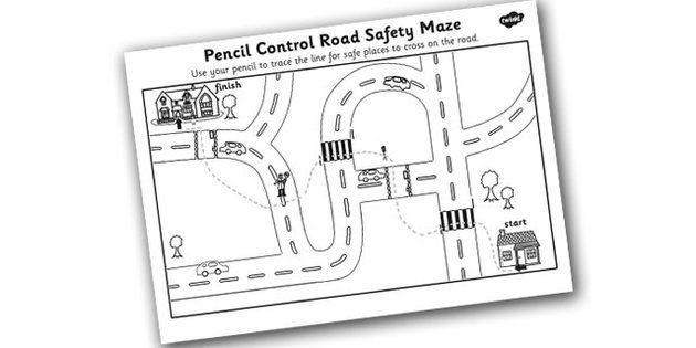 Safe Road Crossing Pencil Control Worksheet | IPC Transport ...