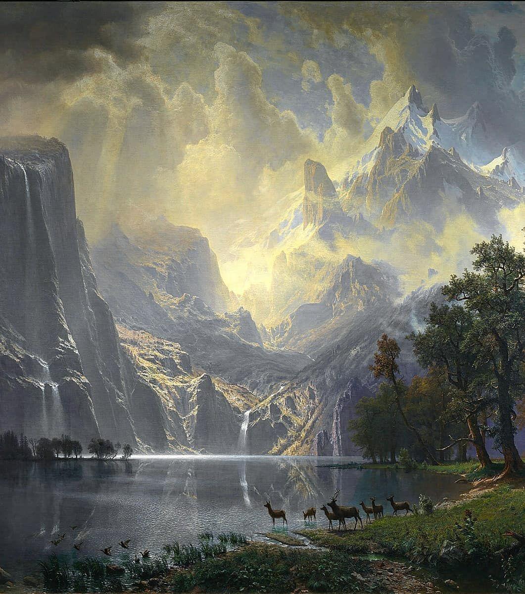 Albert Bierstadt 1830 1902 Fantasy Landscape Albert Bierstadt Paintings Mountain Paintings Fantasy art river forest mountains sky