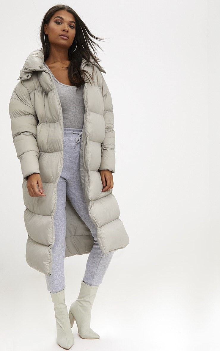 Taupe Oversized Longline Puffer Jacket With Hood Puffer Jacket Outfit Long Puffer Coat Puffer Coat Outfit [ 1180 x 740 Pixel ]