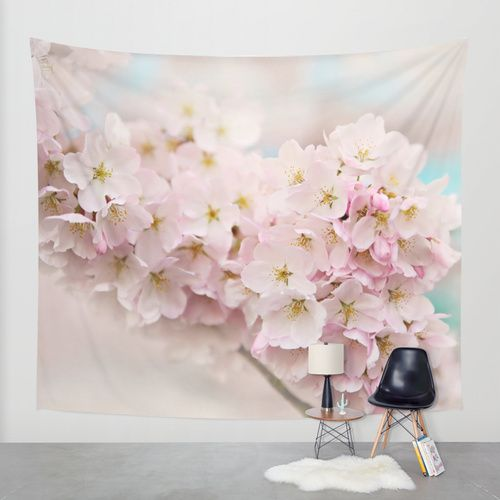 pastel beauty- Wall #Tapestry by Sylvia Cook Photography | Society6  #pastel #cherryblossoms #flowers #pink