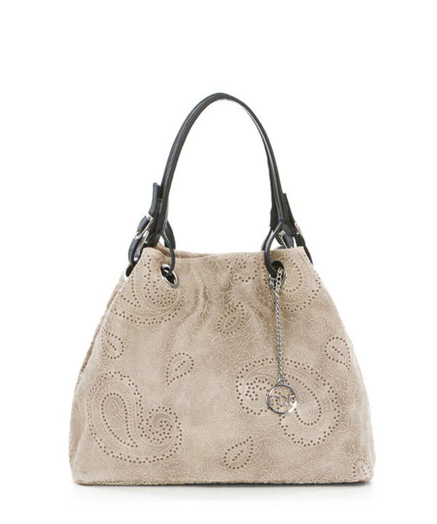 design intemporel 6d107 07142 Taupe leather patterned grab bag Sale - Mia Tomazzi | Iconic ...
