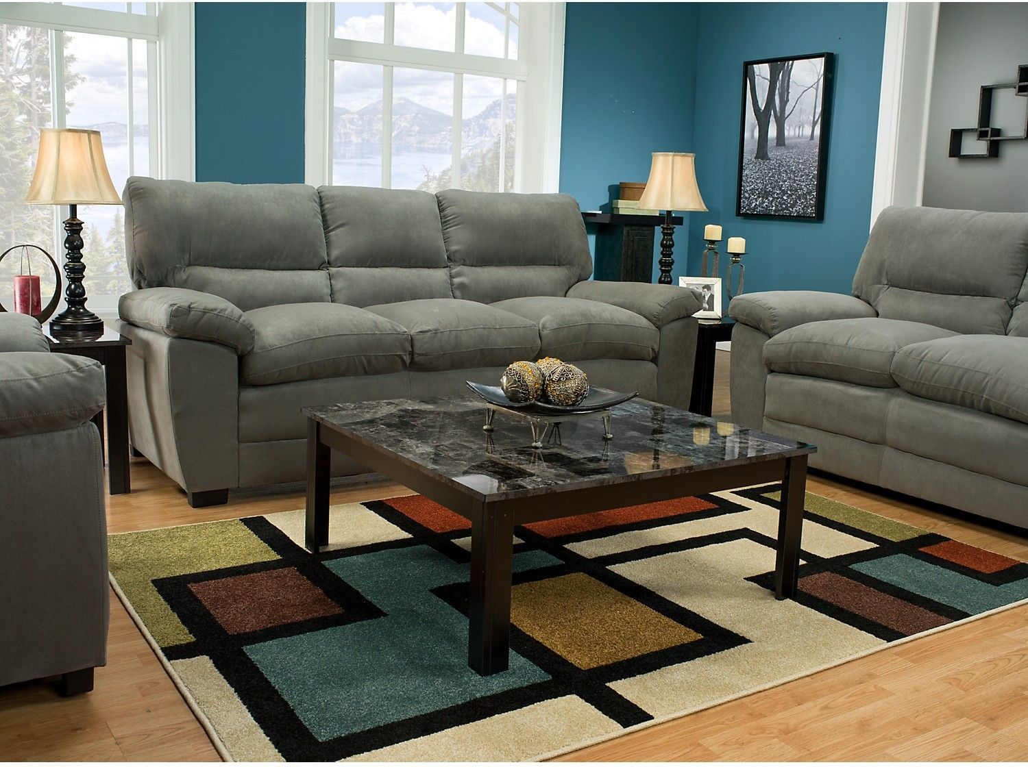 Awesome Peyton Microsuede Sofa   Grey | The Brick · Living Room ...