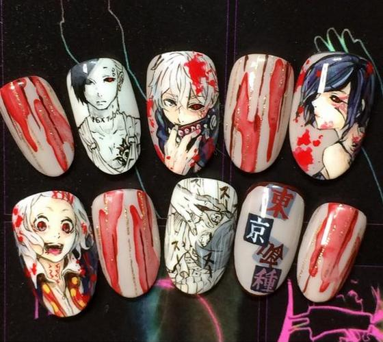 Tokyo Ghoul Nails In 2020 Anime Nails Kawaii Nails Japan Nail