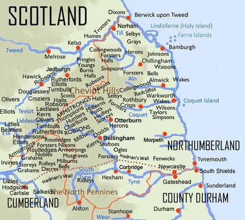 Map Of England Durham.Border Reiver Map Ancestors Durham Northumberland England