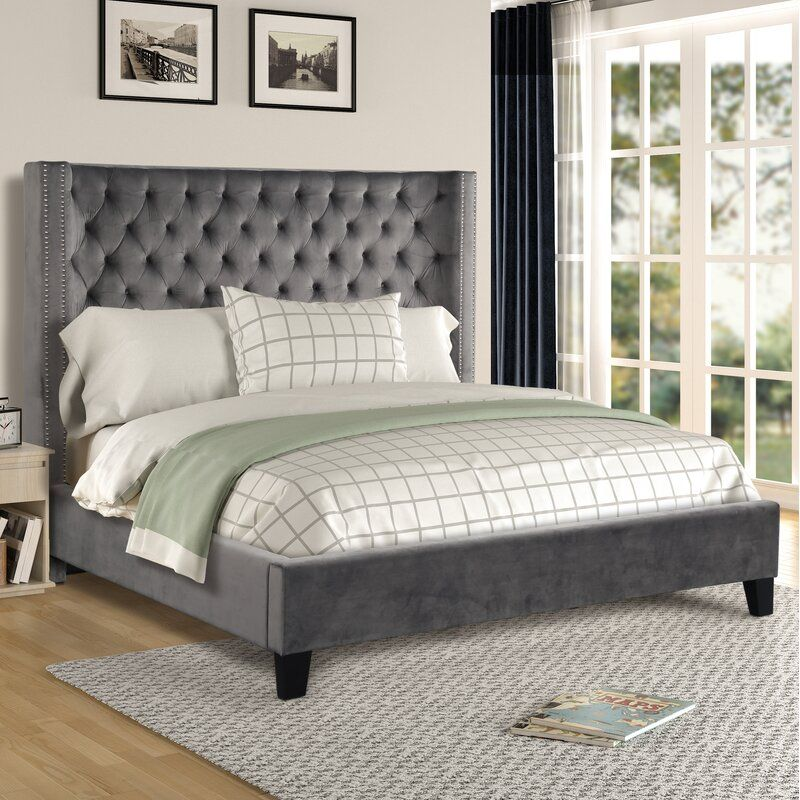 Purkey Upholstered Standard Bed In 2020 Bed Sizes Upholstered