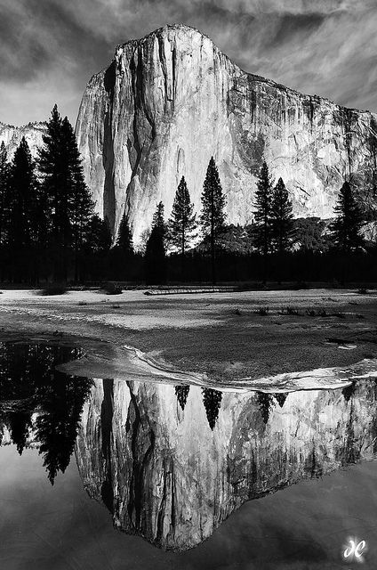Reflecting el capitan yosemite national park california in black and white