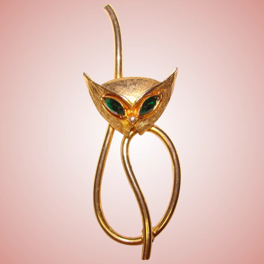Awesome CAT Green Rhinestone Eyes Vintage Signed Brooch