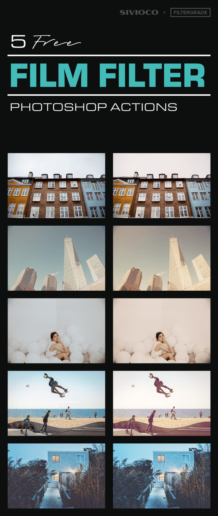 5 free film filter Photoshop Actions by FilterGrade ...