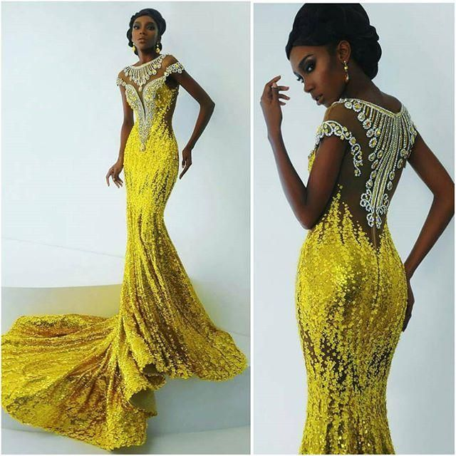 Gorgeous Yellow Sequined Mermaid Prom Dresses For African Women ...
