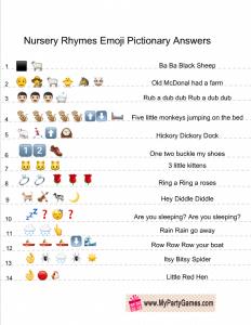 Free Printable Baby Shower Nursery Rhymes Emoji Quiz ...