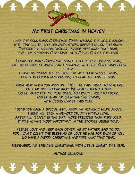 My First Christmas In Heaven A Phenomenal Poem For Those Of Us Who Have  Lost Loved Ones During The Past Year. This Beautiful Poem Was Enclosed In A  Sympathy ...