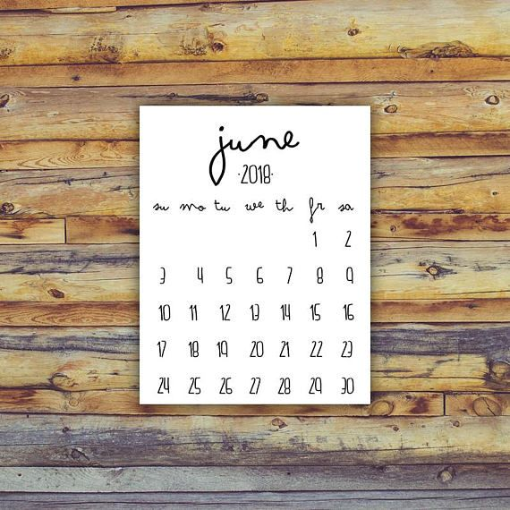 blank calendar june 2018 printable
