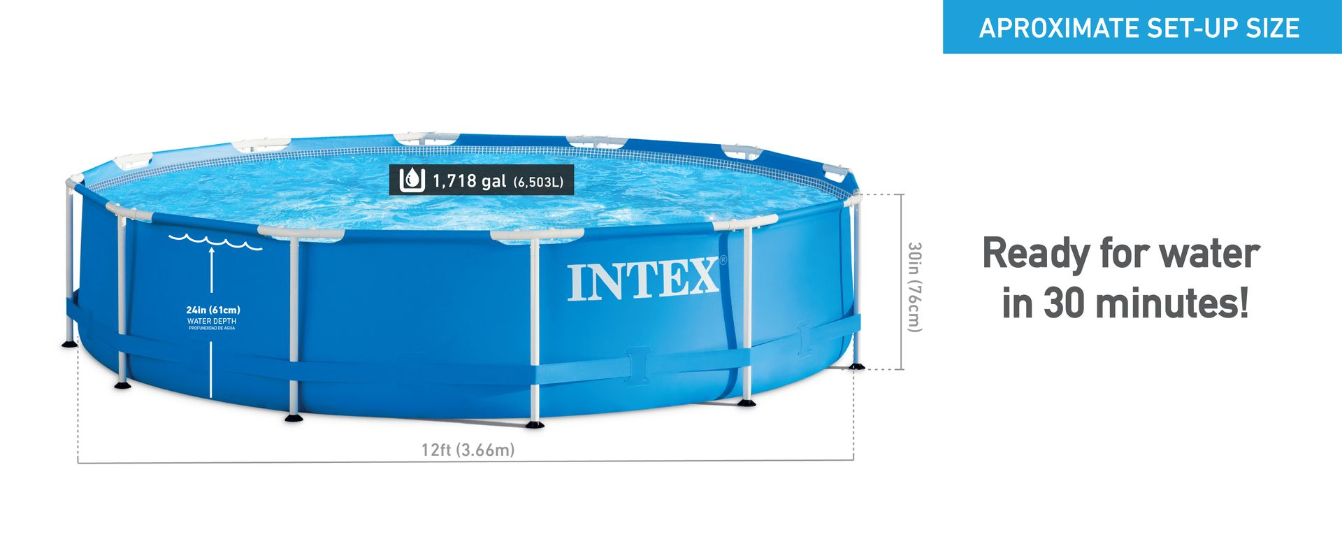 Intex 12 X 30 Metal Frame Above Ground Pool With Filter Pump Target In Ground Pools Above Ground Pool Intex