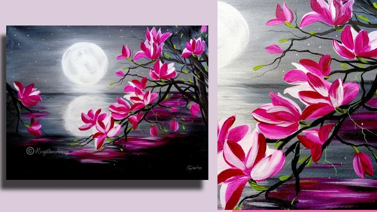 Step By Step Acrylic Painting On Canvas For Beginners Moon Light Night Painting Tree Of Acrylic Painting Flowers Moonlight Painting Flower Painting Canvas
