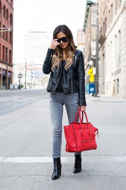 c3041405915c41 maria vizuete mia mia mine blogger bag sunglasses leather jacket black top  grey jeans black boots red bag celine bag