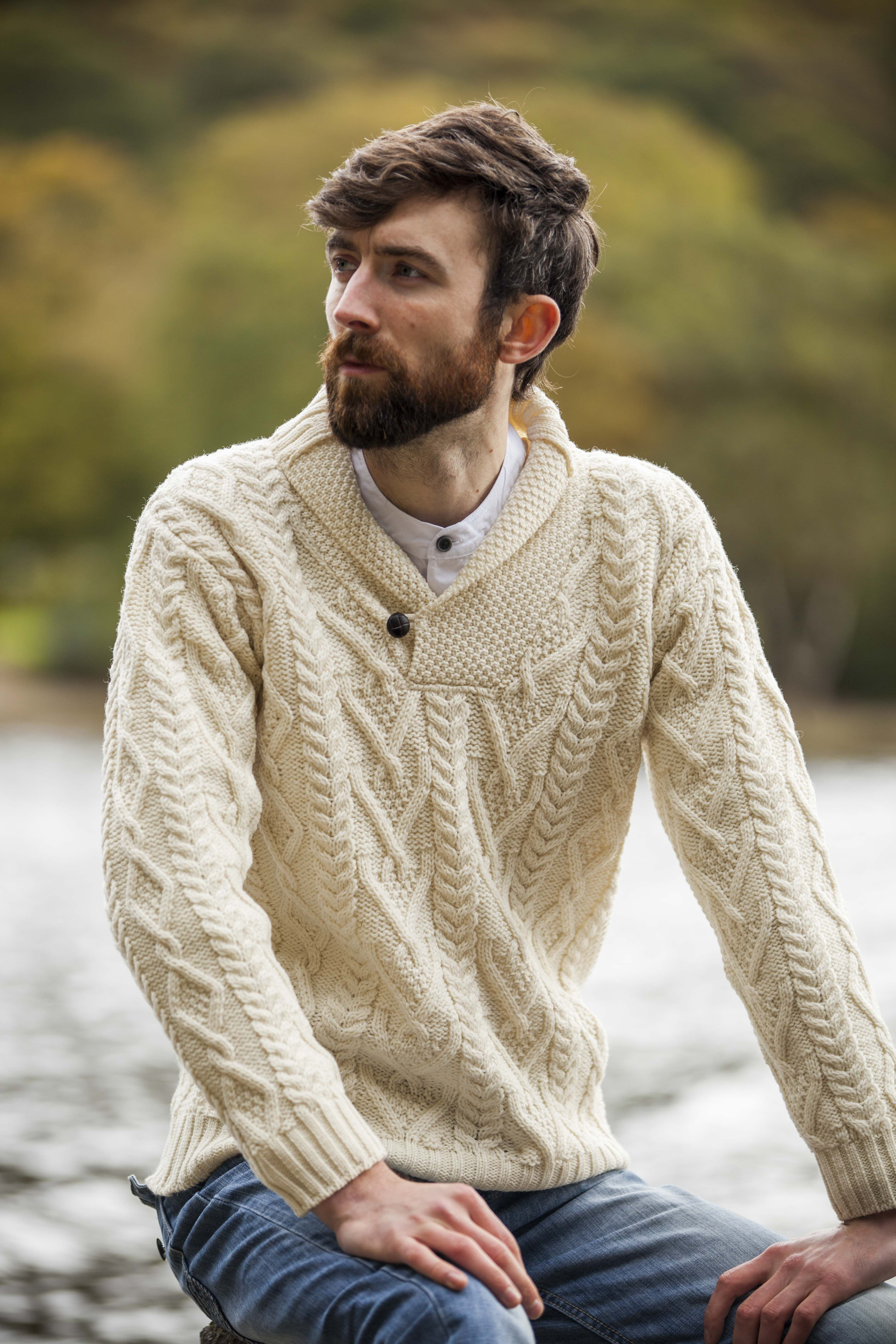 Merino Wool Shawl Collar Aran Sweater | Modern, Chic, and ...