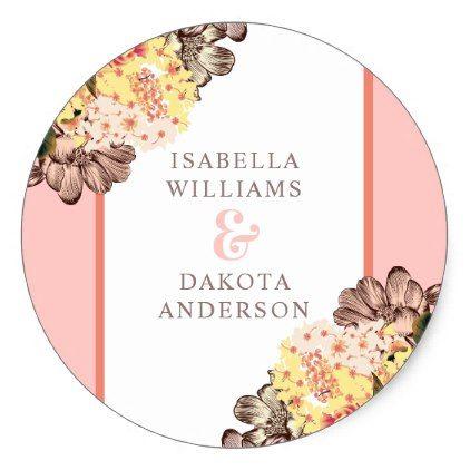 Vintage Pink Amp Yellow Flowers Elegant Wedding Classic Round Sticker Stylish Gifts Unique Cool Di Wedding Stickers Vintage Wedding Gifts Wedding Classic
