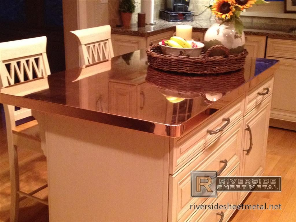 Marvelous Copper Island With Rivets And Patchy Dark Patina Finish. Riverside Sheet  Metal Specializes In The Fabrication Of Copper Counter Tops And  Backsplashes.
