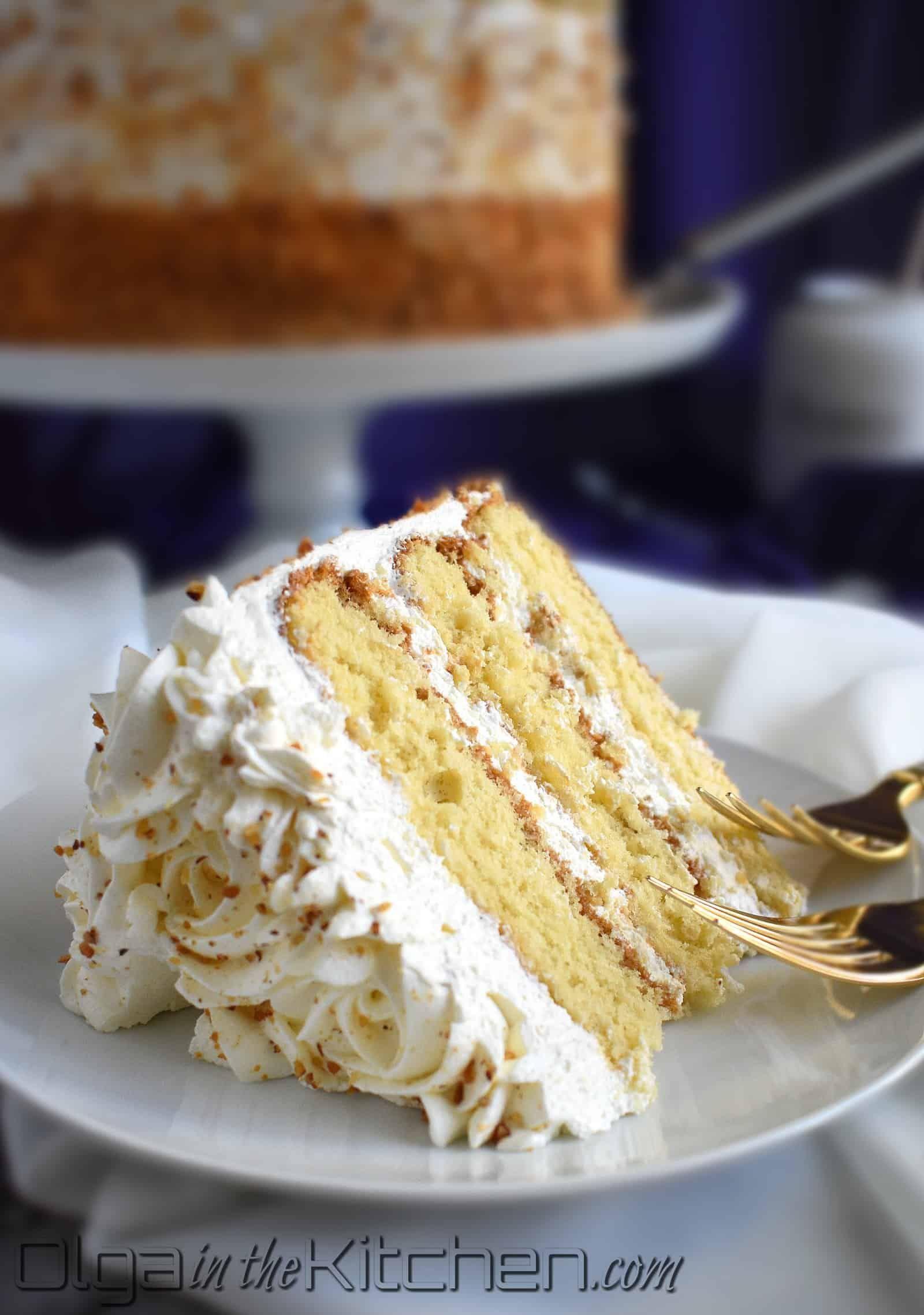 Honey Cake With Sour Cream Frosting Olga In The Kitchen Recipe Sour Cream Frosting Sour Cream Cake Honey Cake Recipe