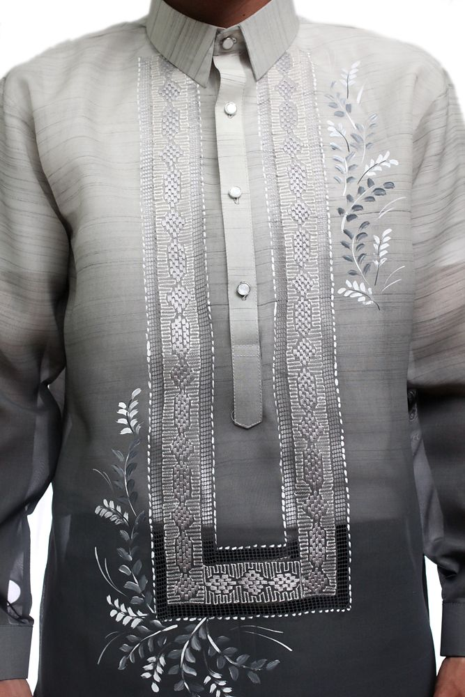 Gorgeous Gray Jusi Pina Monochromatic Barong Tagalog Available In Sizes S 3XL At