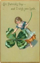 ST. PATRICK'S DAY - AND I WISH YOU LUCK  girl with exaggerated shamrock, no pig