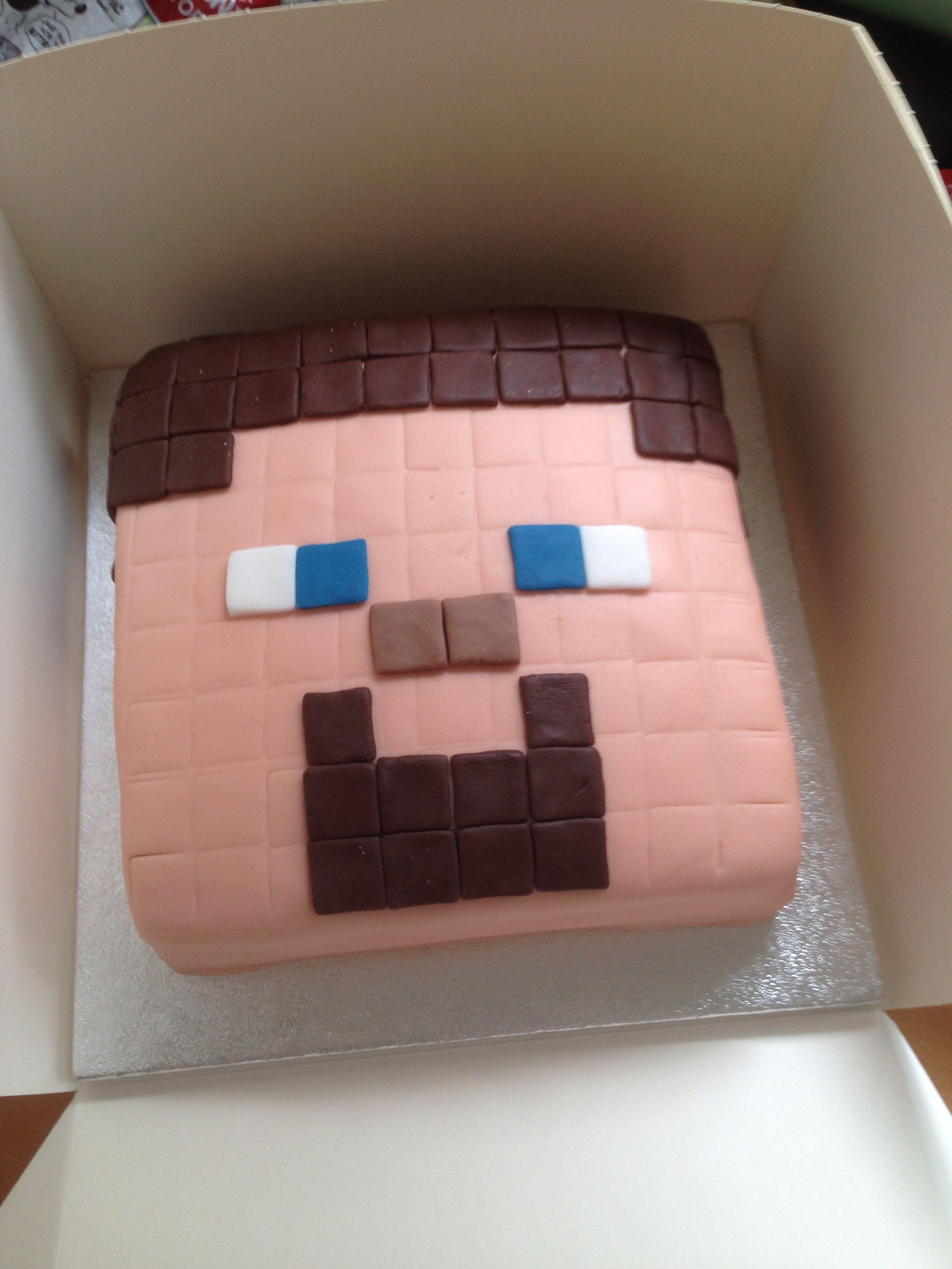 Minecraft Steve Head Cake Minecraft Birthday Cake Minecraft