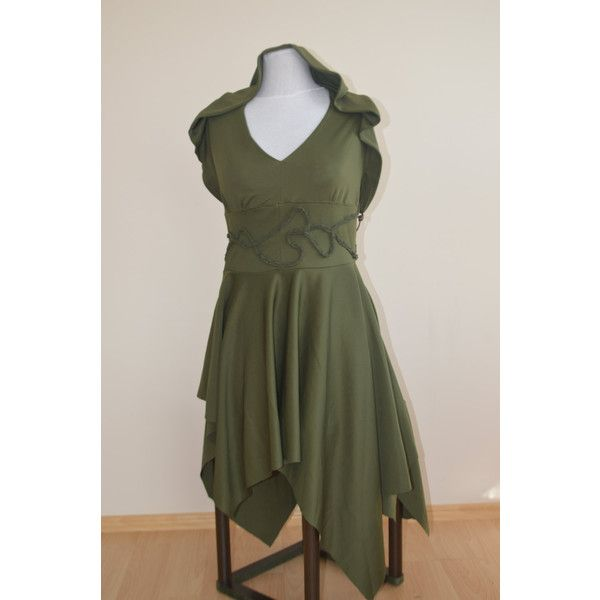 Khaki green hooded halter neck dress with pointy skirt Elven Pixie... ($96) ❤ liked on Polyvore featuring dresses, hooded dress, halter top, halter-neck dress, pixie dress and halter dress