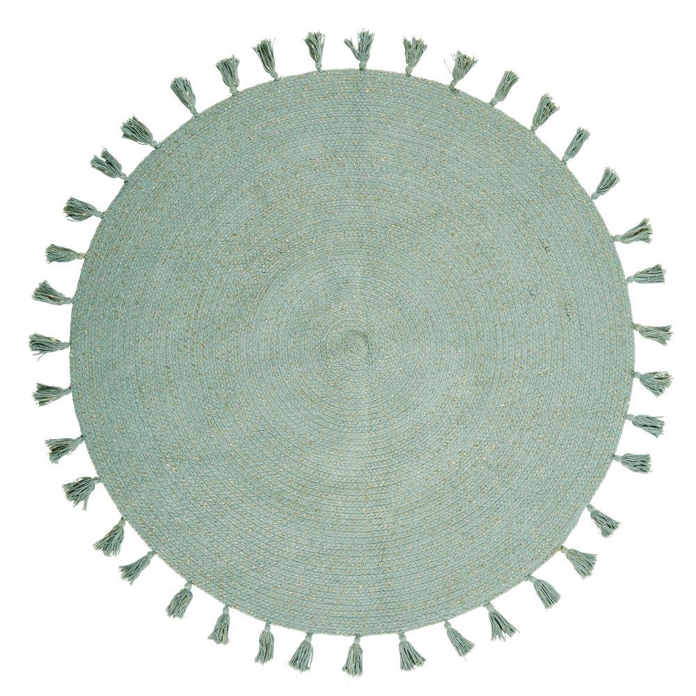 Tappeto rotondo con pompon in cotone verde, 100 cm Green