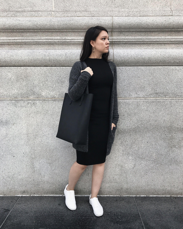 Black Dress Gray Cardigan White Sneakers Grey Cardigan Minimalist Fashion Black Dress In 2021 White Sneakers Fashion Black Dress [ 2835 x 2268 Pixel ]