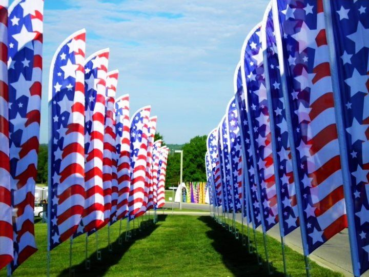 American flag banners kc riverfest kansas city mo with