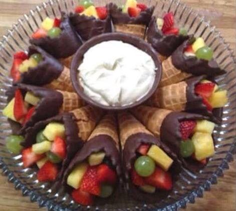 Photo of Love this idea!!  Use Ice cream cones, dip the top in chocol…