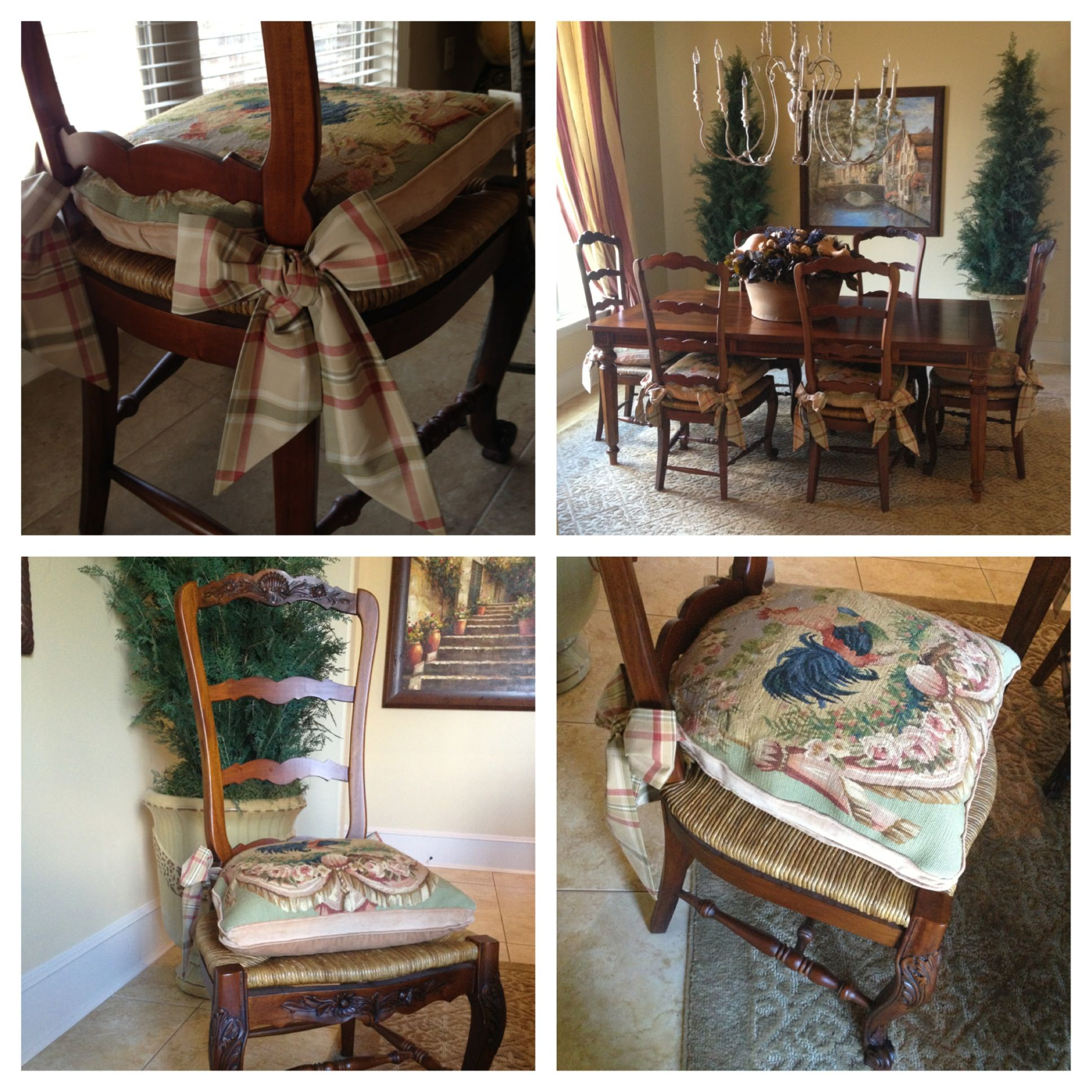 Needlepoint Cushions with tie backs (Roxanne), ladder back chairs ...