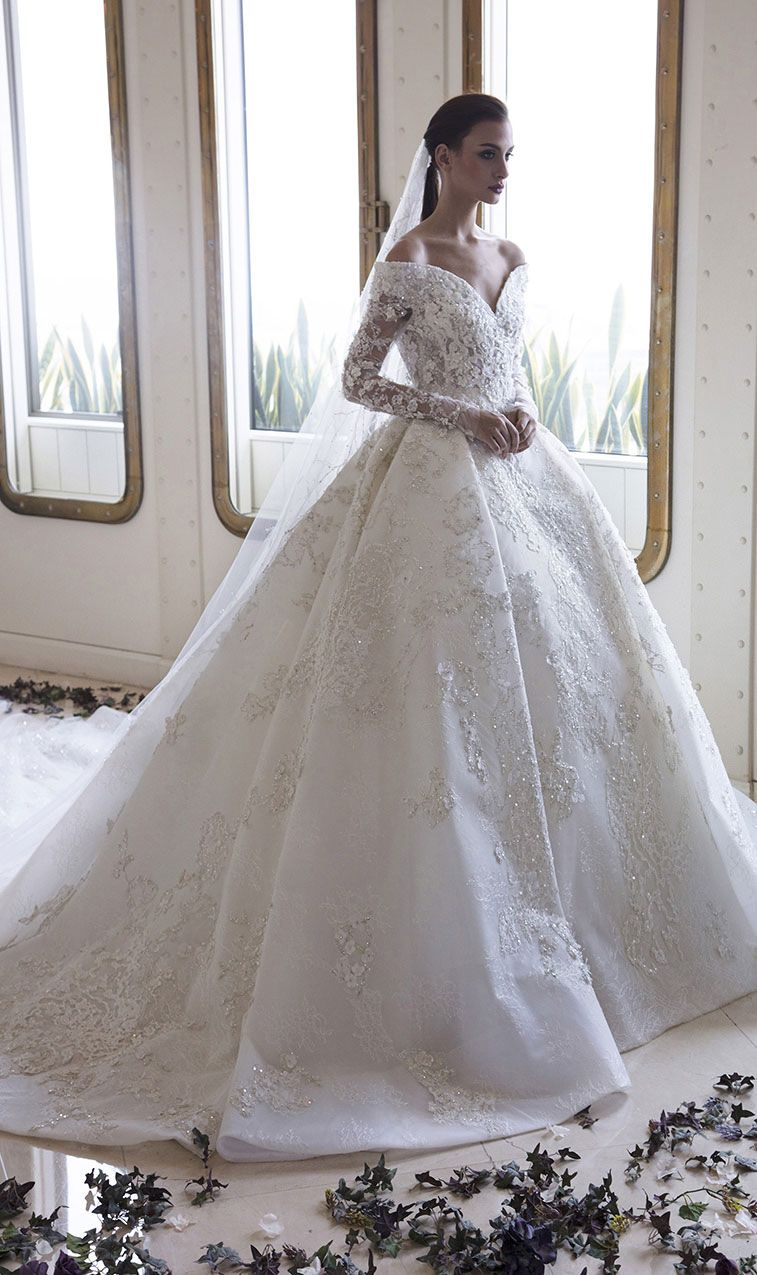 Ziad Nakad Wedding Dresses Inspiration - 2018 Bridal Collection ,Off the shoulder long sleeves heavy embellishment wedding dress ,wedding dresses #weddinggown #weddingdress