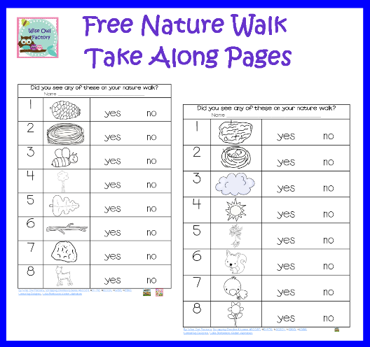 nature walk recording pages for emergent readers free lessons walking in nature preschool. Black Bedroom Furniture Sets. Home Design Ideas