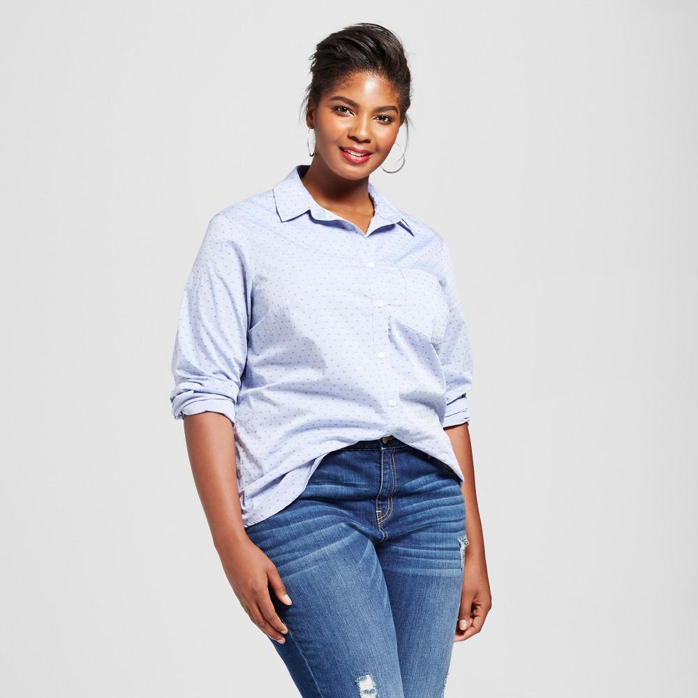 2307feda059 Women s Plus Size Button Down Shirt - Ava   Viv Blue Dot X