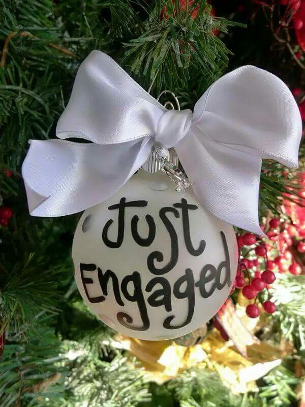 Awesome Christmas Engagement Party Ideas Part - 11: Just Engaged Ornament, Engagement Ring Charm, Just Engaged, Christmas  Ornament