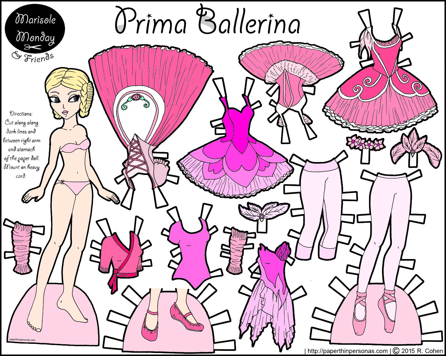 a pink ballerina paper doll by melinda paper dolls marisole monday and friends paper doll. Black Bedroom Furniture Sets. Home Design Ideas