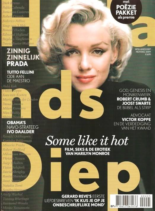 Hollands Diep - November 2009, magazine from Holland. Front cover photo of Marilyn Monroe by Alfred Eisenstaedt, 1953.
