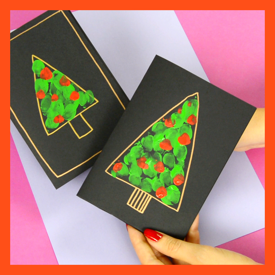 Photo of Fingerprint Christmas Tree Card – Easy Peasy and Fun