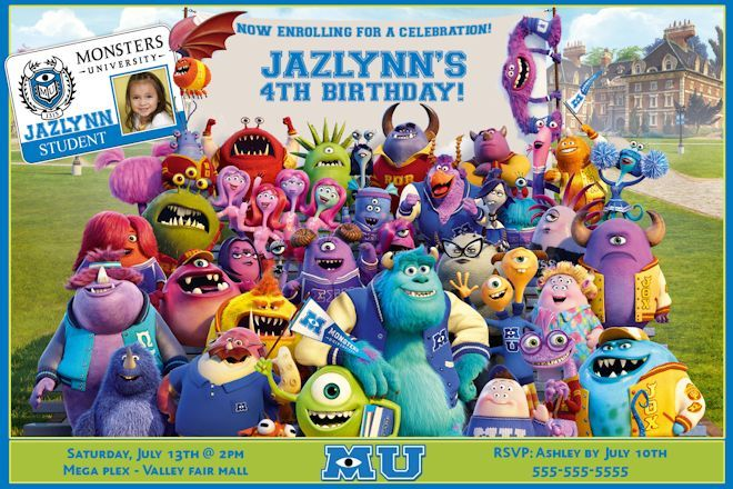 9d02515eb16c2bb60dec21abe4c9ecd5 monster university birthday invitations monster inc birthday,Monsters Inc Birthday Invitations