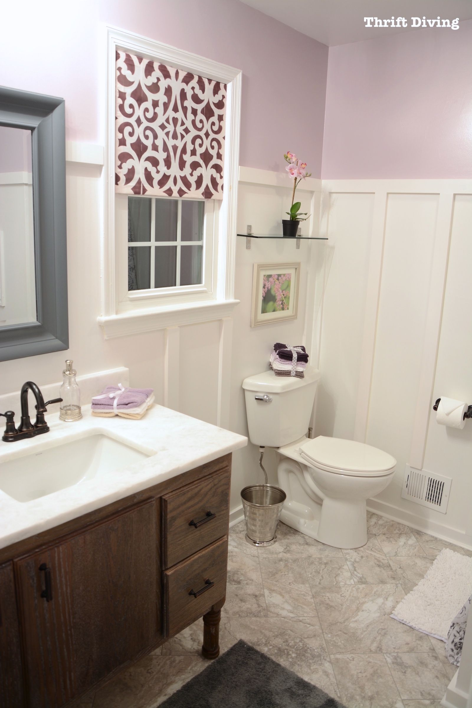 BEFORE AFTER My Pretty Lavender Master Bathroom Makeover