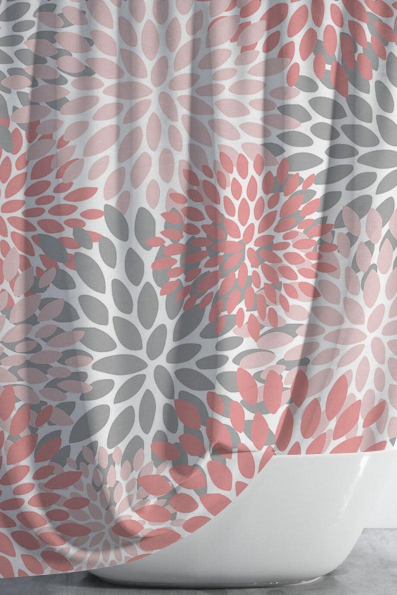 gray shower curtains coral bathroom decor