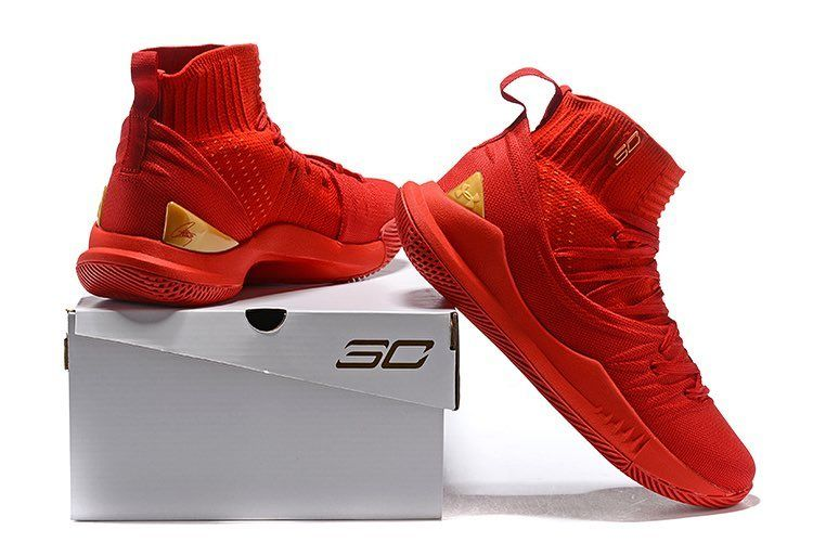 Curry5high Under Armour Curry 5 High Red Gold Kualitas Premium