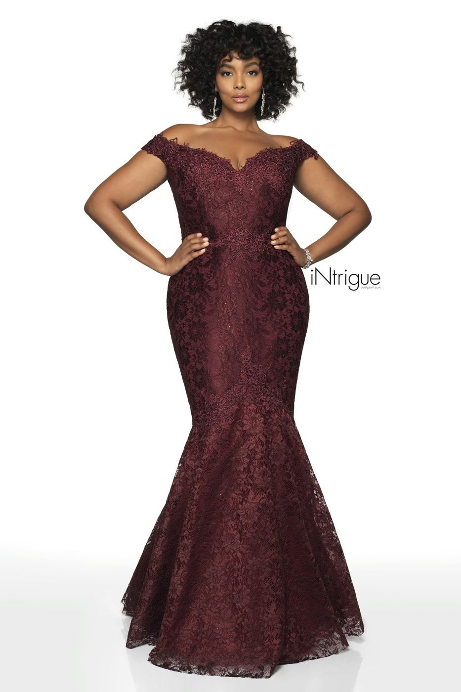 d4348a14cb9 This Blush Intrigue 425W wine red plus size formal dress offers a mermaid  silhouette in allover lace