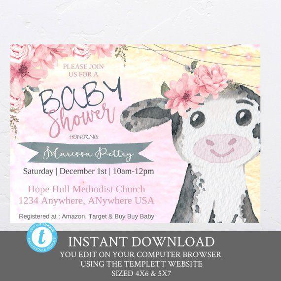 Baby Cow invitations, Barnyard Baby Shower Invitation pink